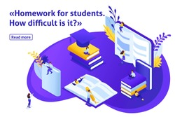 Template design article banner, Isometric concept Homework for e-learning students, read and write using gadgets. Easy to edit and customize.