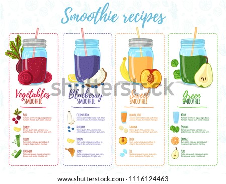 Template design banner, brochure,  flyer with smoothie recipes. Menu with recipes and ingredients for a organic, detox juice. Detox cocktails made from fruits, vegetables and herbs. Vector