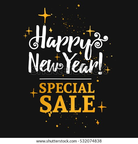 Template design banner for Christmas sales. Happy new year special offer at a discount. Poster lettering for xmas discounts with the decor of gold and curls. Black background. Vector.