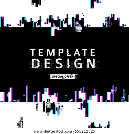 Template design banner glitch style.  Vector distorted  background texture. Computer screen error. .Digital layout with broken noise abstract pixel effect.  Advertising with abstract backdrop. Vector