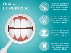 Template design dental infographics with icons, for your website, brochures.
