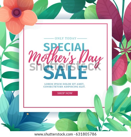 Template design discount banner for happy mother's day. Square poster for special mother's day sale with flower decoration.  Square layout on natural, floral background. Vector.