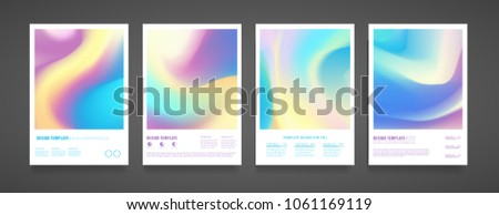 Template design flyer with abstract holographic and bright colorful background. Trendy layout brochure with holography texture in pastel neon color. Hologram for web banner, card and business. Vector