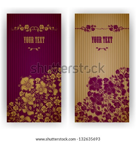 Template design for invitation with damask ornaments. Vector illustration. EPS 10