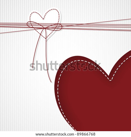 Template design for valentine's greeting card with hearts and ribbon