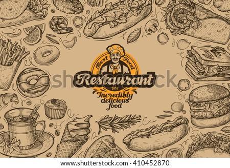 template design menu restaurant or diner. hand drawn food