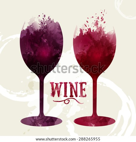 Template design suitable for wine list, wine tasting invitation or party. Artistic design background with stains. Vector