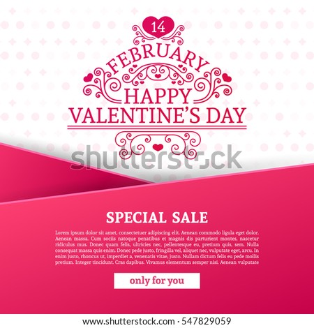 Template design Valentine banner. Happy valentine's  day brochure with decoration  pink tape for sale. Romantic poster with swirl love vintage logo and heart decoration for holiday offer. Vector.