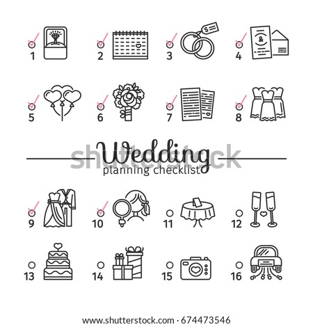 Template design wedding planning checklist with romantic line marriage icon. Poster with layout bridal organizer.  Concept wedding symbol. Vector