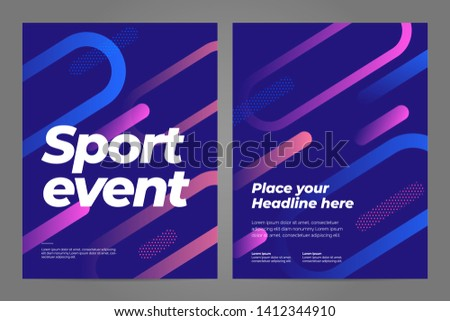 Template design with dynamic lines for sport event, tournament or championship. Sport background.