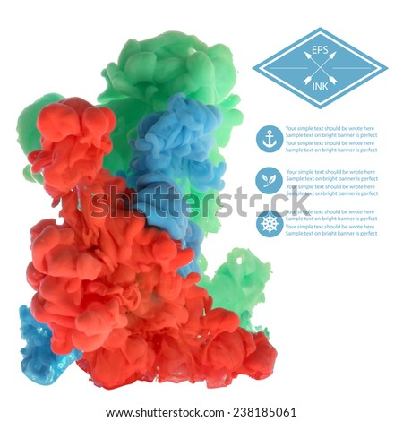 Template design with vector isolated cloud of  ink on white. Splashes of paint. Texture of ink, paint in water