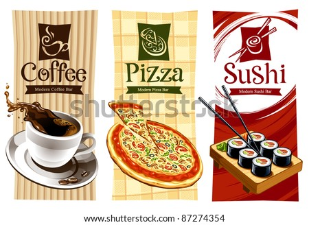 Template designs of food banners. Coffee, pizza and sushi. Vector illustration. - stock vector
