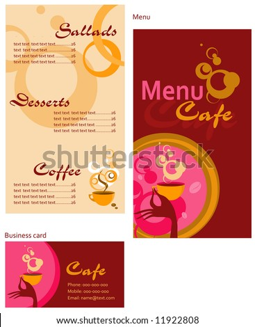 Template designs of menu and business card for cafe, coffee shop and restaurant - stock vector