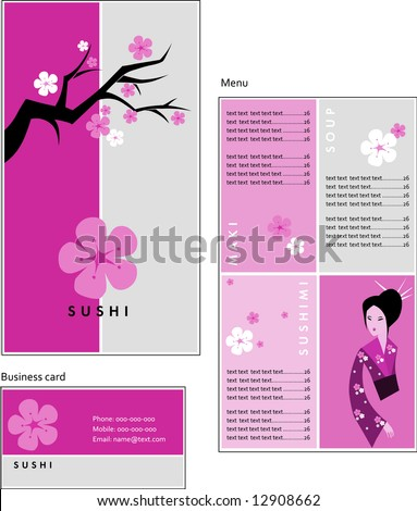 Template designs of menu and business card for coffee shop, SUSHI BAR and Japanese restaurant, vector file include