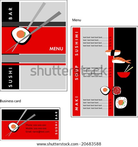 Template designs of menu and business card for coffee shop sushi bar
