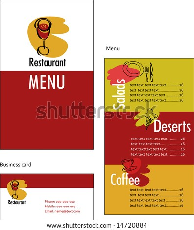 stock vector : Template designs of menu and business card for restaurant or