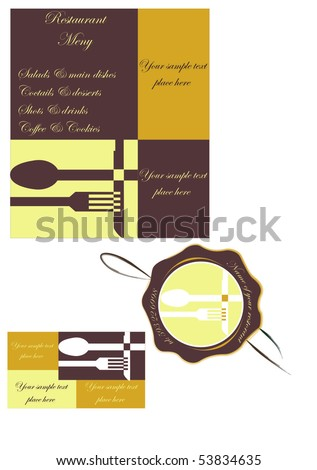 stock vector : Template designs of menu card business card label stamp