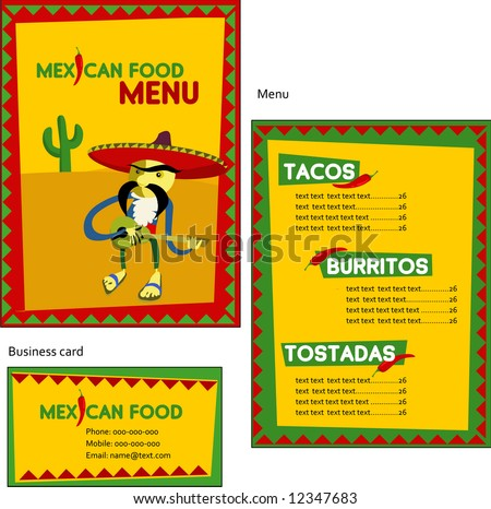 Template designs of Mexican menu and business card for coffee shop and restaurant vector file include