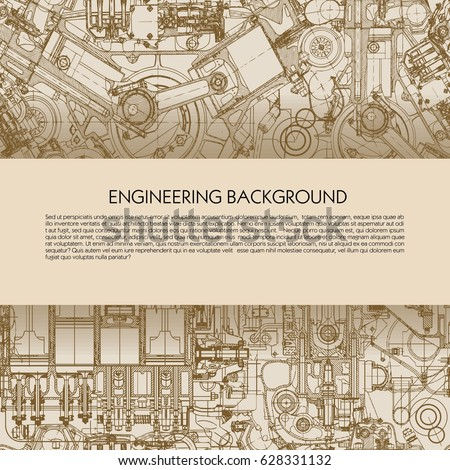 Template engineering background with drawings of car engines with space for your text.