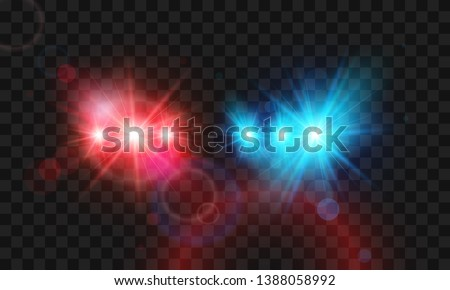 Template flash red and blue light police car siren. Vector illustration isolated on transparent background Stockfoto ©
