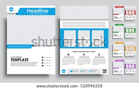 Template flyer A4 with space for a photo. brochure design in 5 color options with ribbons, icons and text. Vector illustrations. Set #520996318