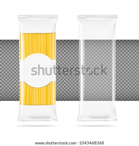 Template for a pack of spaghetti on a white background. Layered mock up file easy and ready to use for your design and presentations. EPS10.