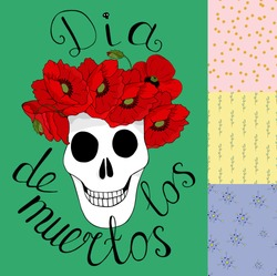 Template for a poster or invitation to the day of the dead on a white background. Skull with a wreath of red poppies and the inscription