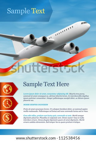 Template for advertising. Airplane - stock vector