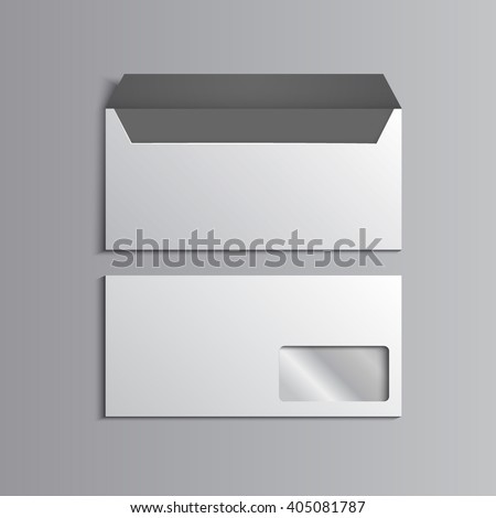 Template for advertising, branding and corporate identity. Envelope with window. Blank mockup for design. Vector white object. EPS 10