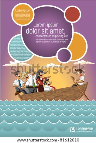 Template for advertising brochure with Business cartoon team on boat