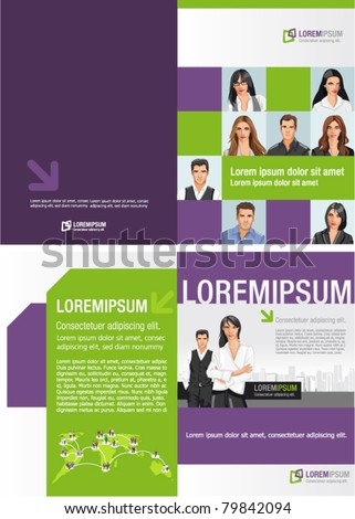 Template for advertising brochure with business people