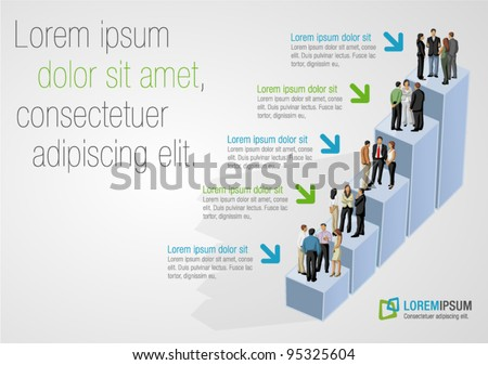 Template for advertising brochure with business people on bar chart - stock vector