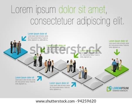 Template for advertising brochure with business people over path