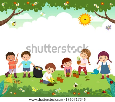 Template for advertising brochure with cartoon of kid volunteers plant trees in the park. Happy children work together to improve the environment.
