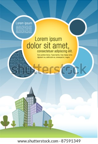 Template for advertising brochure with city and blue sky