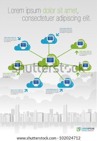 Template for advertising brochure with cloud computing