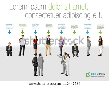 Template for advertising brochure with group of business people choosing the right person. Hiring selection.