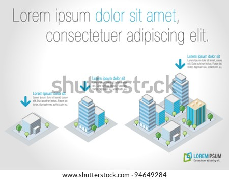 Template for advertising brochure with isometric city