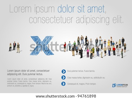 Template for advertising brochure with two groups of business people - stock vector