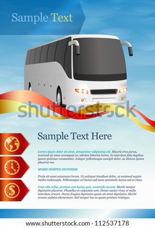Template for advertising. Tourist bus