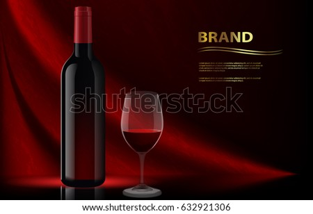 Template for advertising wine with a glass and a dark bottle. Red wine ads. Red wine glass on red background. Glass red wine on dark background with bottle for your ads design