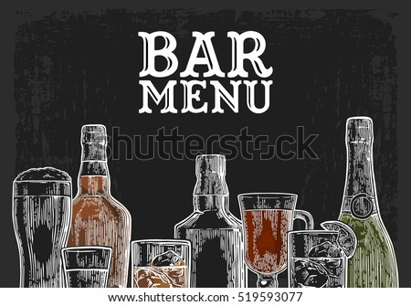 Template for Bar menu alcohol drink. Bottle and glass beer, gin, wine, whiskey, tequila. Vintage color vector engraving illustration for label, poster, invitation to party. Isolated on dark chalkboard