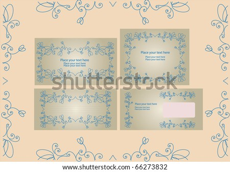 Template for business artworks: envelope, forms for letters, invitations, greeting, card, eps10