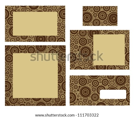 Template for business: envelope, business card and invitation on circle background