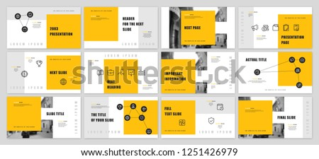 Template for business presentations. Yellow and Black elements on a white background. Presentation slide, flyer leaflet, brochure cover, report, marketing and banner