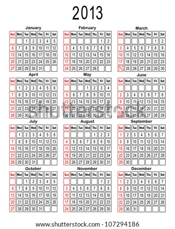 Template for calendar 2013. You can easily change background. Vector illustration.