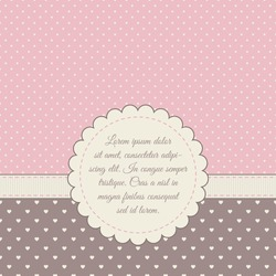 Template for card, invitation, save the date, photo frame. Pink, cream, brown colors. Frame, ribbon, polka dot background, heart-shaped background.