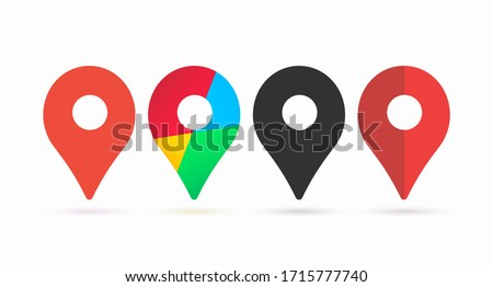 Template for colored icons for location pins. Web placement symbols with shadow and navigation isolated on a white background. Vector illustration