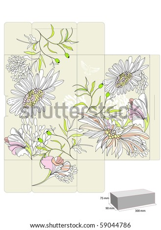 Template for decorative box with flowers