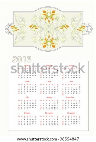 Template for decorative calendar 2013
